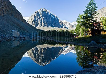 Beautifull Valley With View To Mountains And  Blue  Lake In Altaj, Russia  At The Summer