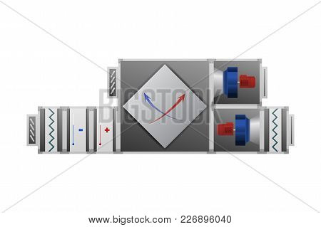 Air Handler With Recuperator Vector Illustration. Technical Image.