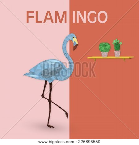 Summertime. Good Vibes With Geometric Flamingo And Cactus In Trendy Pastel Colors. Text : Flamingo