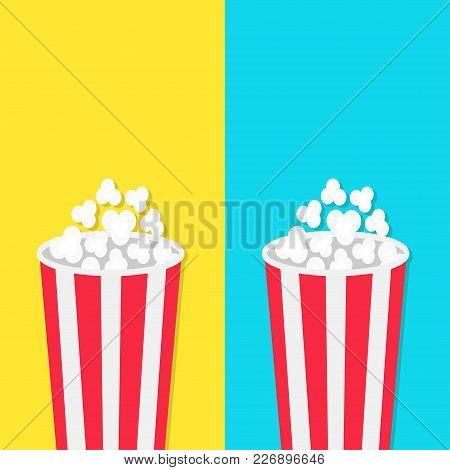 Popcorn Round Bucket Box Set. Movie Cinema Icon In Flat Design Style. Pop Corn Popping. Blue Yellow