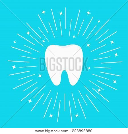 Healthy White Tooth Icon With Smiling Face. Cute Cartoon Character. Dash Line Round Circle. Oral Den