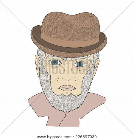 Portrait Of A Mature Person Zen Tangle Vector Illustration. Aged Man In A Hat. Coloring Book For Adu