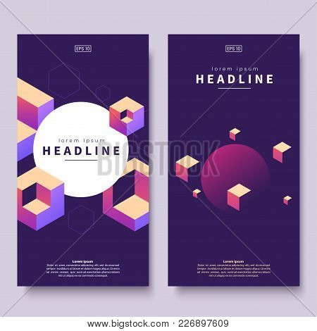 Abstract Colorful Isometric Banners. Geometric Shapes On Dark Background. Vertical Minimalistic Bann
