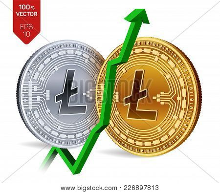 Litecoin. Growth. Green Arrow Up. Litecoin Index Rating Go Up On Exchange Market. Crypto Currency. 3