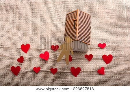 Heart Shaped Icons And Paper House On Linen Threads