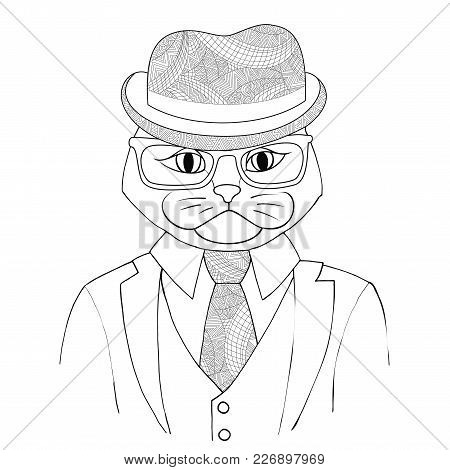 Catman Boss In A Suit With A Tie Vector Illustration. A Hybrid Of Man And Cat Zen Tangle. Fashion Po