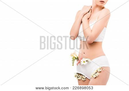 Cropped View Of Girl With Flowers In Panties, Isolated On White, Intimate Care Concept