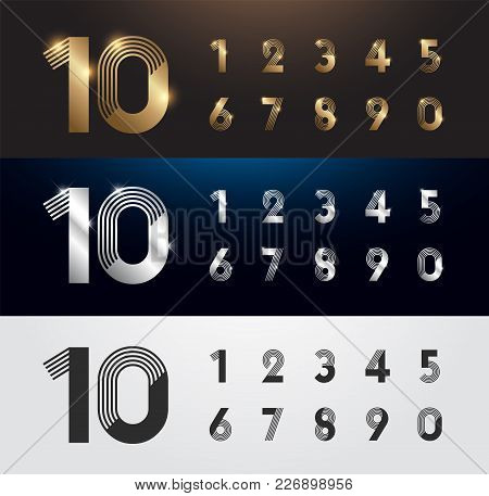 Set Of Metal Number. Vector Silver, Gold And Black Numbers. 1, 2, 3, 4, 5, 6, 7, 8, 9, 10. Alphabet