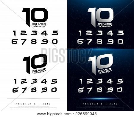 Technology Alphabet Silver Metallic And Effect Designs For Logo, Poster, Invitation. Exclusive Lette