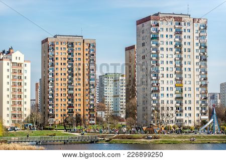 Warsaw, Poland - April 1, 2017: Typical Prestressed Concrete Panel  Buildings In Warsaw City