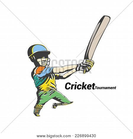 Colorful Cricket Player Hit The Big Ball Vector Illustration Design.