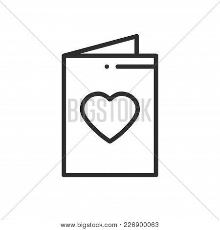 Postcard Line Icon. Happy Valentine Day Sign And Symbol. Love Couple Relationship Dating Wedding Day