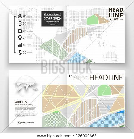 Business Templates For Square Bi Fold Brochure, Magazine, Flyer, Report. Leaflet Cover, Easy Editabl