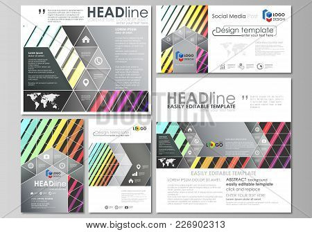 Social Media Posts Set. Business Templates. Easy Editable Abstract Flat Design Template, Layouts In