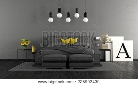 Minimalist Master Bedroom With Black Double Bed And Gray Wall - 3d Rendering