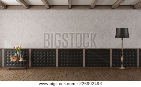 Classic Living Room With Black Upholstery Boiserie - 3d Rendering