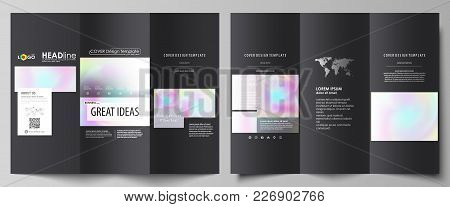 Tri-fold Brochure Business Templates On Both Sides. Easy Editable Abstract Vector Layout In Flat Des
