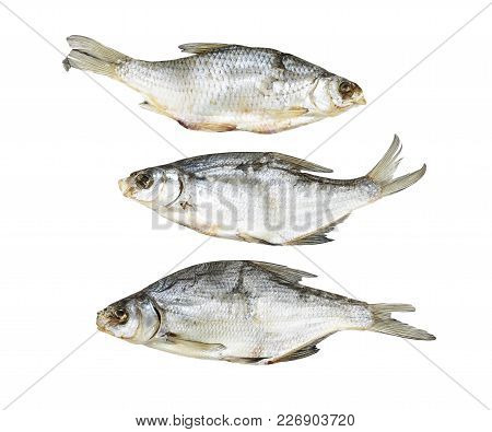 Dried Fish On A White Background . Photos In The Studio