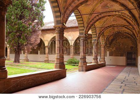 Florence, Italy - September 19, 2017: Cloister Garden Santa Maria Novella In  Florence.