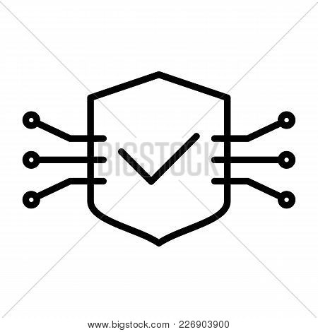 Tech Circuit Shield Line Icon.  96x96 For Web Graphics And Apps.  Simple Minimal Pictogram. Vector