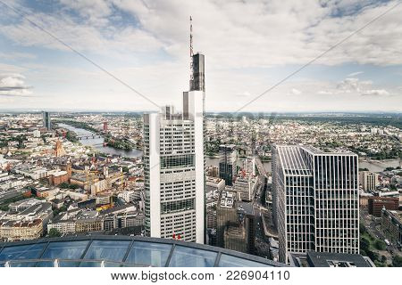 Aerial Panorama Of Frankfurt City Center With Skyscrapers And The River Main, View From A Skyscraper
