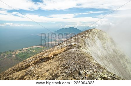 Gases And Fumes Spew Out Of The Crater At The Peak Of Volcan Concepción On Ometepe, Nicaragua. In Th
