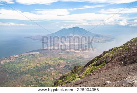 Volcan Madera Rises Above The Horizon, As Seen From Volcan Concepción. Ometepe, Nicaragua.