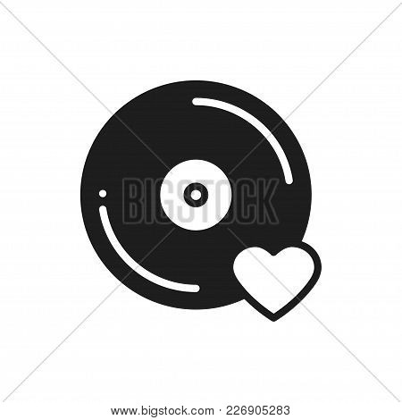 Vinyl Line Icon. Favorite Song. Vinyl Record Disco Dance Nightlife Club Dj Disk Party Theme. Sign An