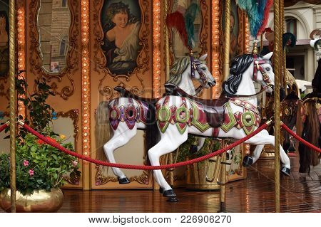 Florence, Italy - September 18, 2017: Detail Of Merry-go-round