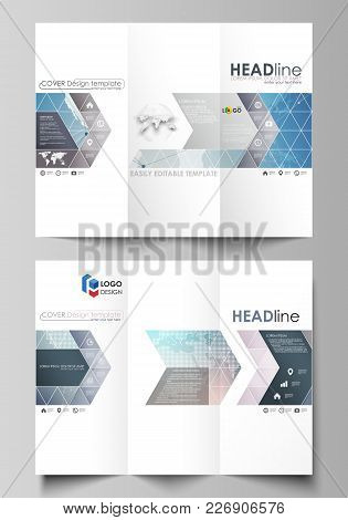The Minimalistic Abstract Vector Illustration Of The Editable Layout Of Two Creative Tri-fold Brochu