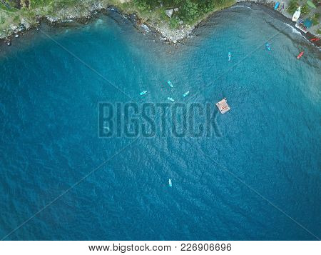 People Doing Kayaking In Lagoon Aerial Drone View