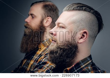 Close Up Portrait Of Two Bearded Hipsters On Grey Background.