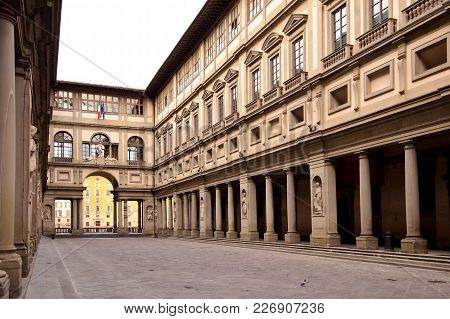 Florence, Italy - September 17, 2017: The Uffizi Gallery In Florence In Italy.