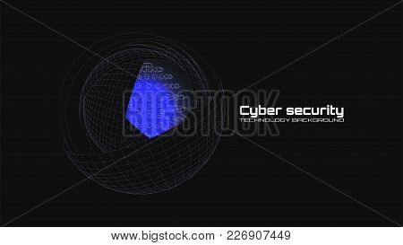 Cyber Security And Information Protection. Protect Mechanism, System Privacy Icon Isolated On Black