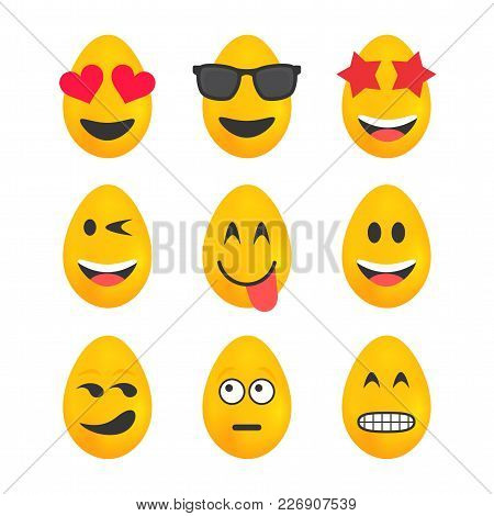 Set Of Bright Yellow Easter Eggs Having Emojis Displayed On Each Egg
