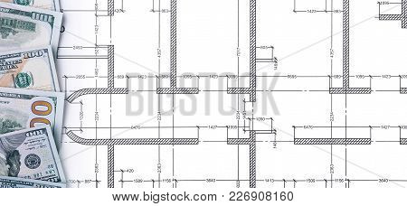 Banknotes In One Hundred Dollars, Financial Prosperity, Dollars On Construction Drawings, Space For