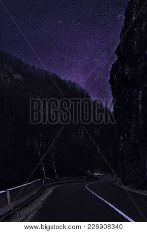 Night Mountain Road Under The Sky Full Of Stars