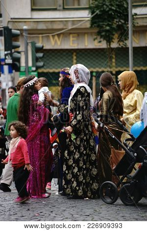 Mainz, Germany - September 25: Kurdish Women With Children And Family Present Colorful Costumes At A