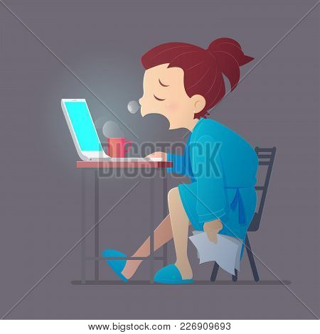 Sleepy Exhausted Woman Working At Home With Her Laptop, Vector And Illustration, Sleep Deprivation A