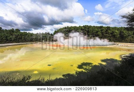 Geothermal Activity At The Wai-o-tapu Thermal Wonderland In New Zealand.