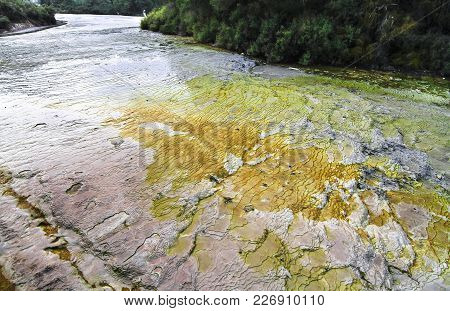 Layers Of Minerals Cover This Streambed At The Wai-o-tapu Thermal Wonderland In New Zealand.