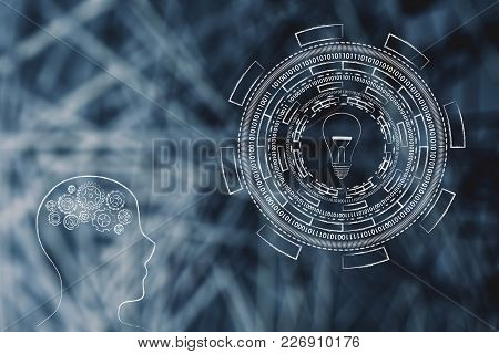 Brainstorming And Innovation Conceptual Illustration: Person With Gearwheel Thought Mechanism Next T