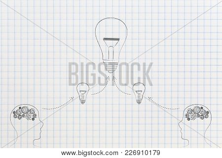 Brainstorming And Innovation Conceptual Illustration: People With Gearwheels Thought Mechanism Produ