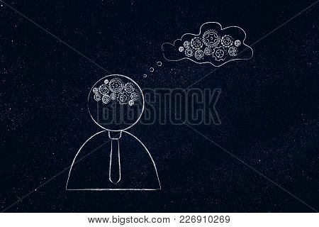 Brainstorming And Innovation Conceptual Illustration: Person With Gearwheel Thought Mechanism Brain