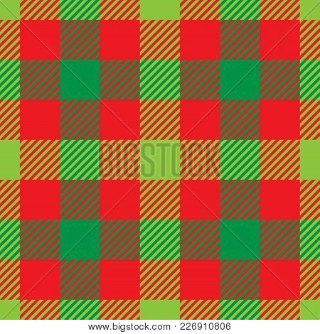 Lumberjack Plaid Pattern In Red And Green. Seamless Vector Pattern. Simple Vintage Textile Design.