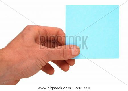 Blue Card In Hand Isolated