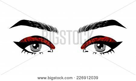 Beautiful Women Open Eyes With Red Glitter Makeup. Make Up With Black Eyeliner Arrows And Groomed Ey
