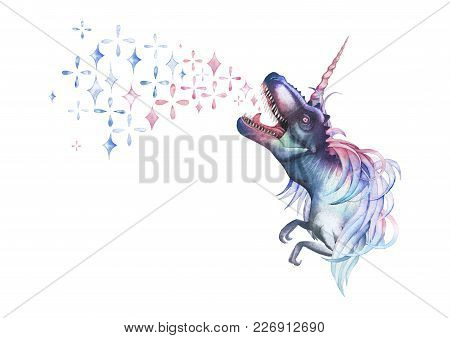 Watercolor Dinocorn. Pastel Colored Tyrannosaurus With Unicorn Horn And Mane Roaring Out Fantasy Spa