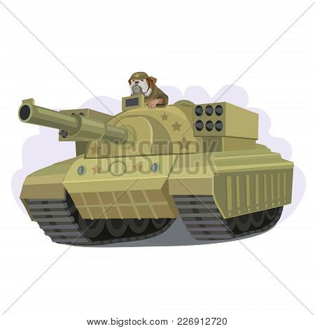 Tank New Model With A Rocket Launcher On The Suggestive Sight Of A Dog Sitting Bulldog In A Helmet
