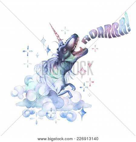 Watercolor Dinocorn. Pastel Colored Roaring Tyrannosaurus With Unicorn Horn And Mane Surrounded By F